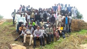 Graduates of the Calvary Chapel Bible Training Centre at their Ebenezer Stone
