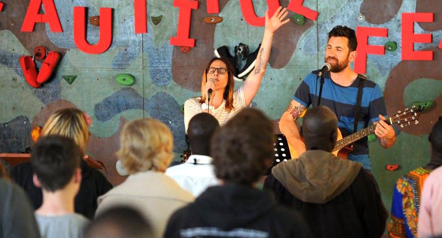 Bryce and sarah Turi leading worship