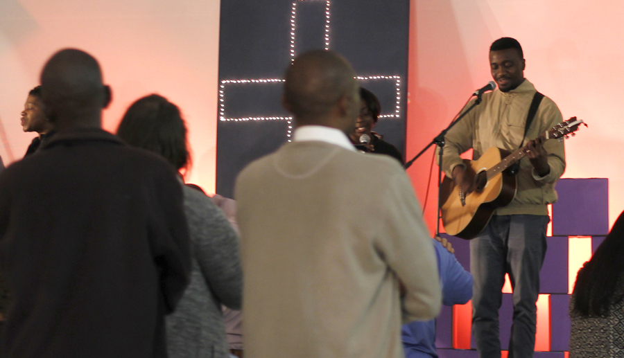 Shaku Shimba leading worship with a team from Calvary Chapel Cape Town